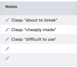 Screenshot of FeedbackFive sorted clasp notes
