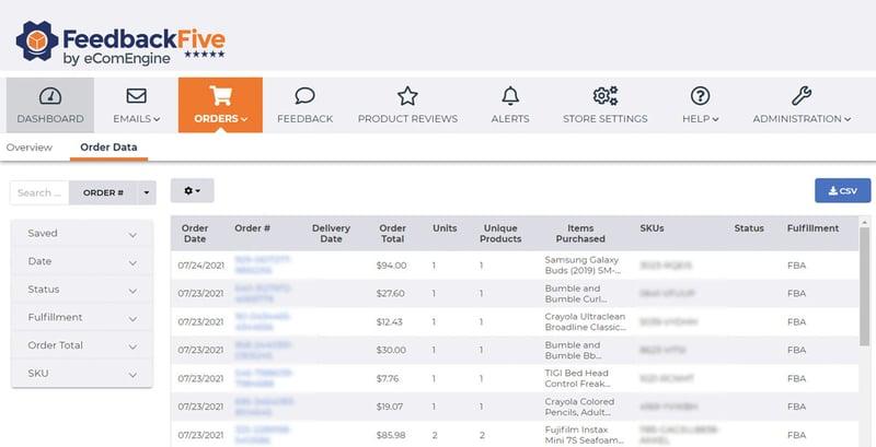 Screenshot of FeedbackFive orders data