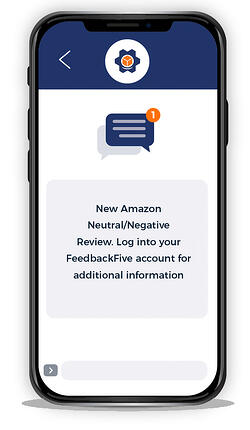 Illustration of FeedbackFive mobile review alert on smartphone screen