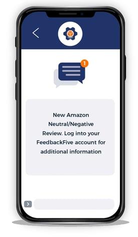 FeedbackFive neutral/negative review alert on mobile