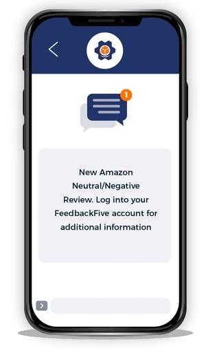 Illustration of FeedbackFive mobile review alert on smartphone screen