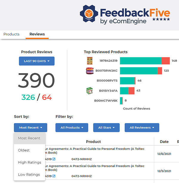 Reviews filter options in FeedbackFive