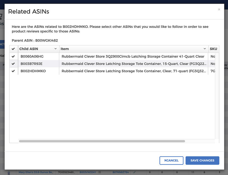 Related ASINs information window in FeedbackFive