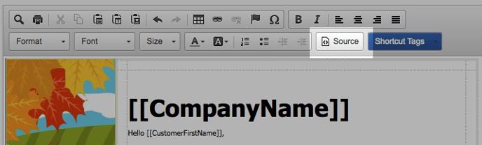 Source button on the FeedbackFive advanced template editor