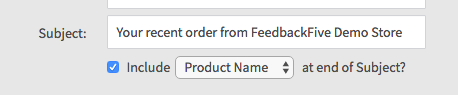 Subject line options on the FeedbackFive Wizard template