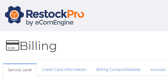 Billing page options tabs in RestockPro