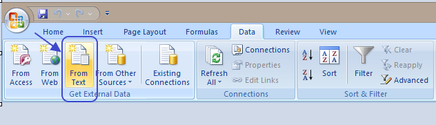 Arrow pointing to the open CSV file from text option in Excel