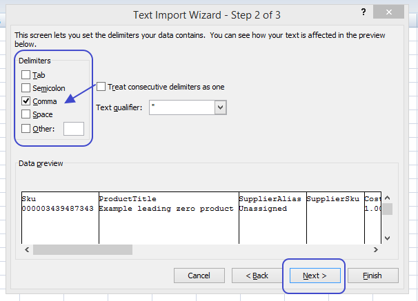 Arrowing pointing to the comma delimiter option in the Excel Text Import Wizard