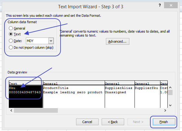 Arrows pointing to column data format and data preview options in the Excel Text Import Wizard