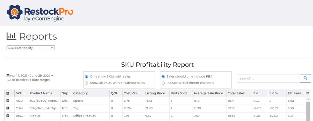 SKU profitability report in RestockPro