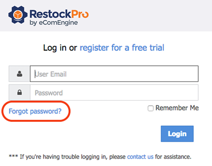Forgot password link on the RestockPro sign-in page