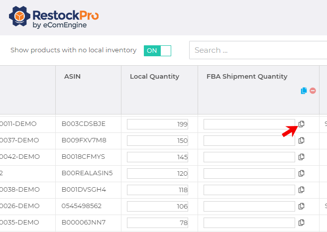 Arrow pointing to the icon for copying local quantity into FBA shipment quantity in RestockPro