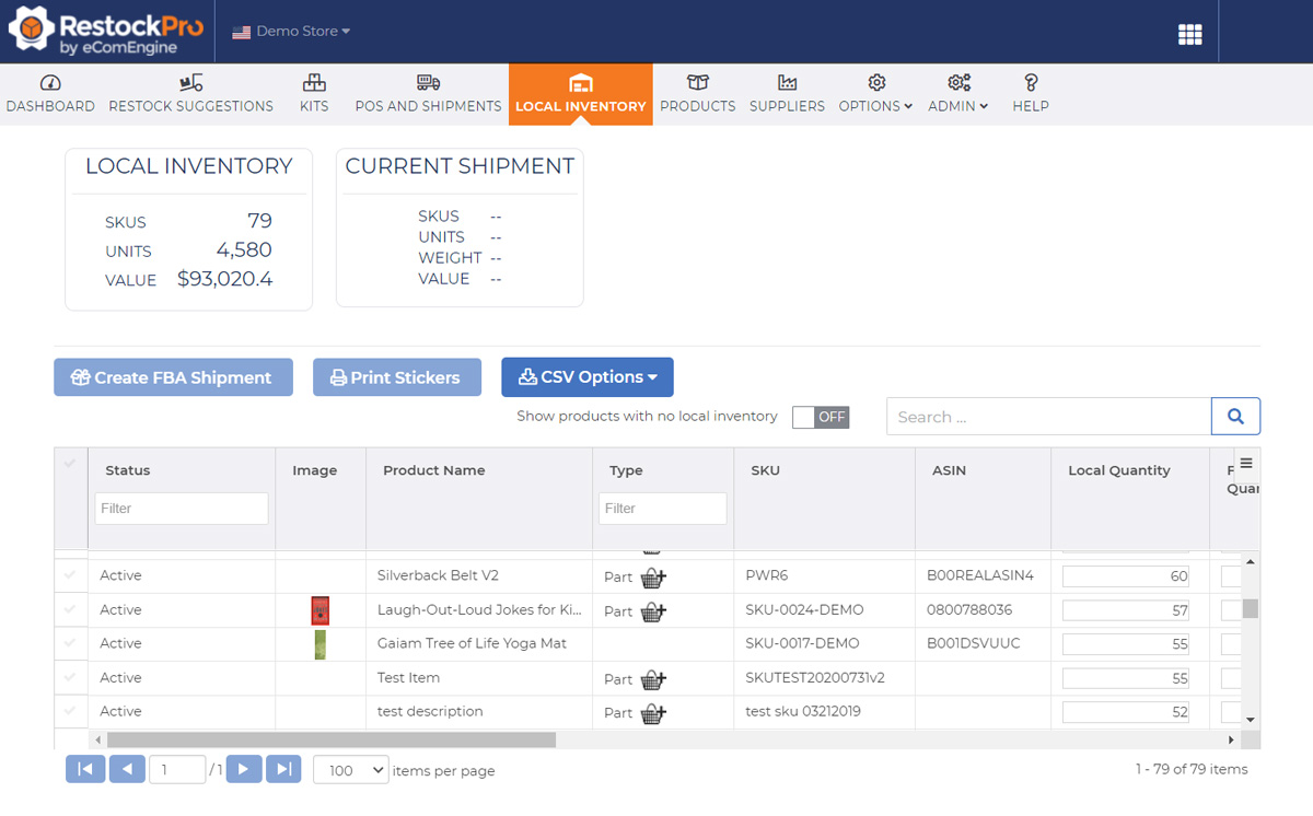 Local inventory view in RestockPro