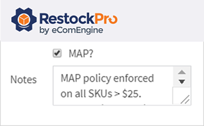 MAP notes in RestockPro