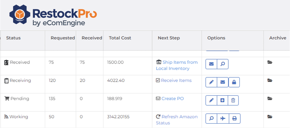Purchase order and shipments grid in RestockPro