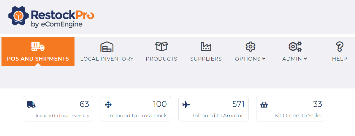 Order tracking view in RestockPro