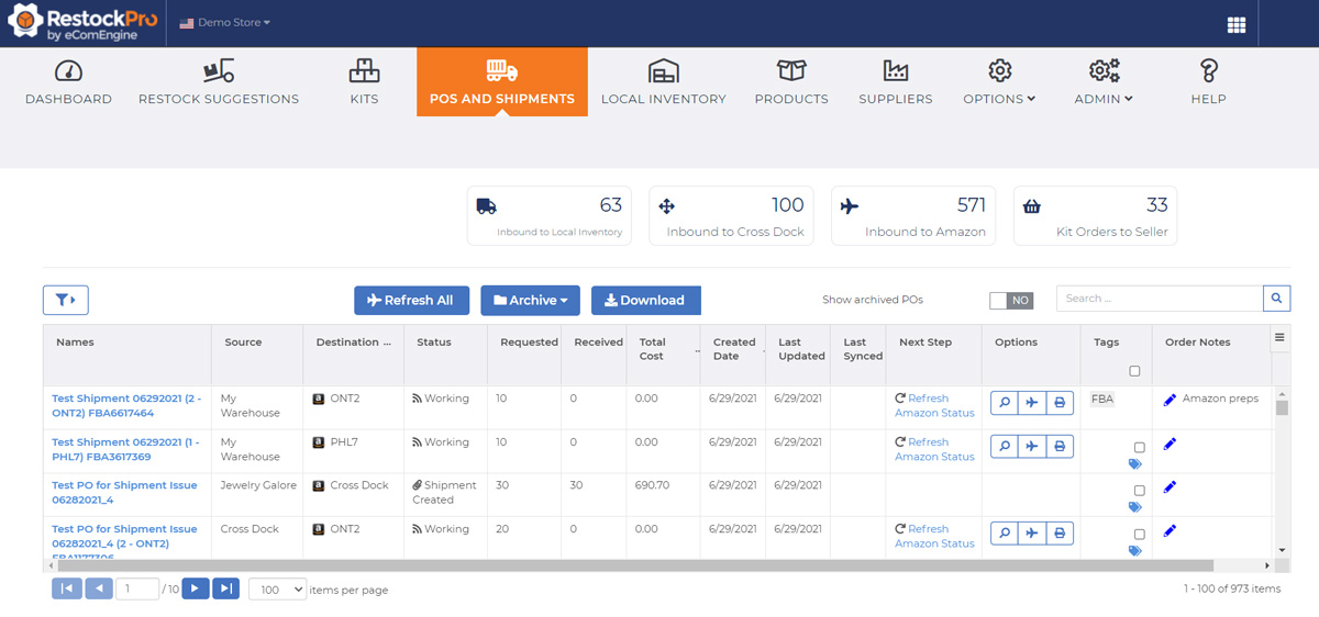 Purchase orders and shipments view in RestockPro