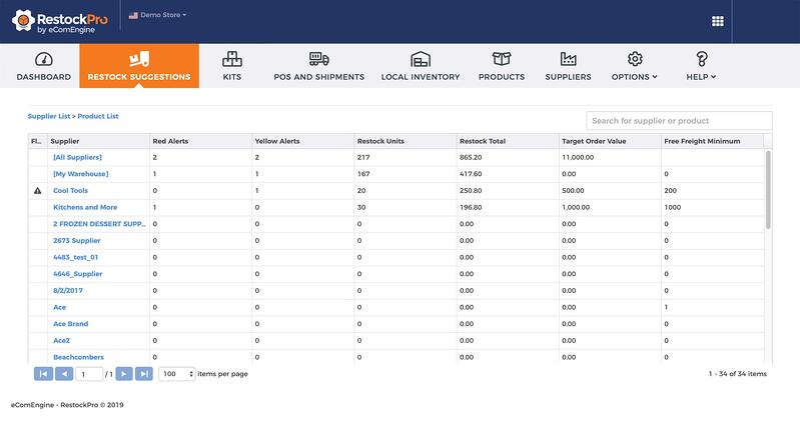Supplier list view in RestockPro