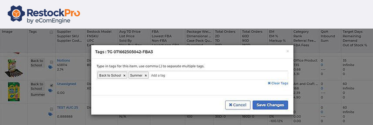 Screenshot of adding tags in RestockPro