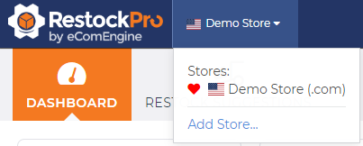 Store switcher dropdown in RestockPro