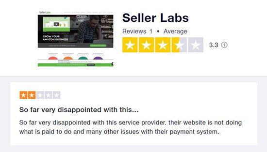 Seller Labs Review on Trustpilot