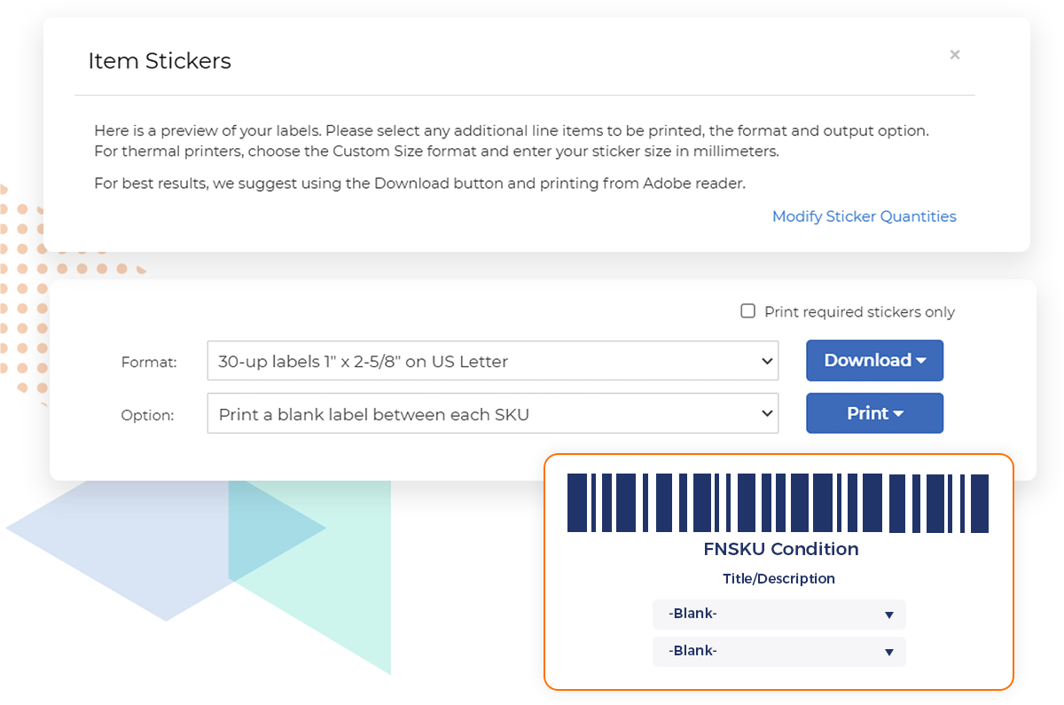 Illustration of the item stickers preview window in RestockPro