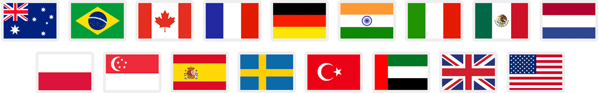 Sixteen flag icons that represent Amazon marketplaces supported by FeedbackFive