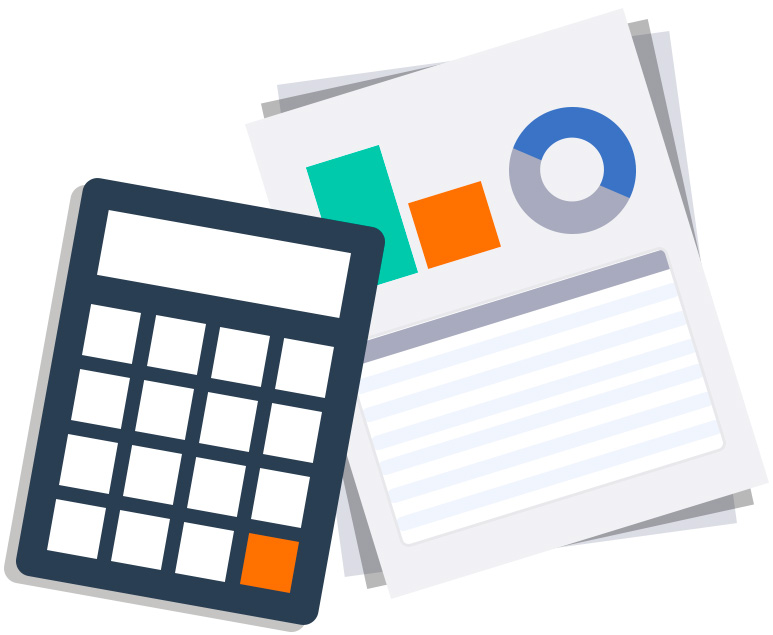 Calculator that is on top of a stack of Amazon market research reports