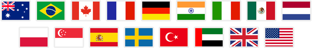 Seventeen flag icons that represent Amazon marketplaces supported by FeedbackFive