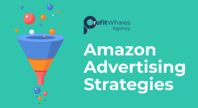 "Profit Whales logo and text, ""Amazon advertising strategies"""
