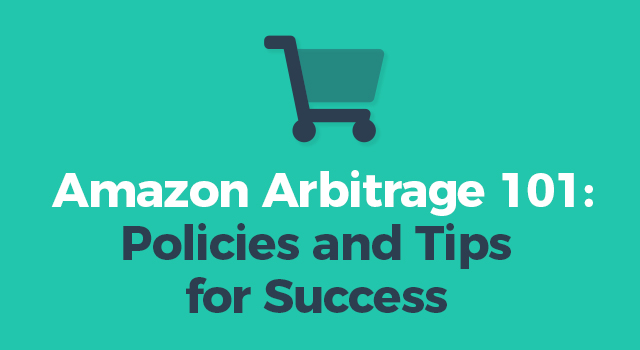 """Shopping cart with text, """"Amazon Arbitrage 101: Policies and tips for success"""""""