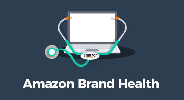 "Stethoscope with Amazon logo around a computer with text, ""Amazon brand health"""