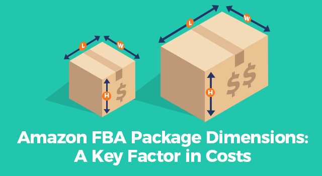 "Packaging boxes with measurement arrows and dollar signs with text, ""Amazon FBA package dimensions: A key factor in costs"""