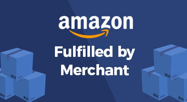 Amazon logo between FBM shipping boxes with text,