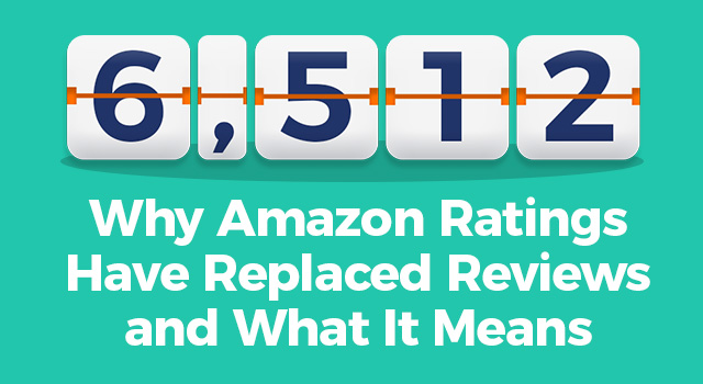 "Number counter with text, ""Why Amazon ratings have replaced reviews and what it means"""