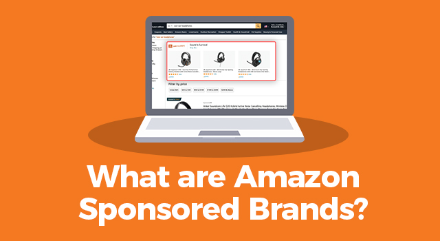 """Amazon search results page on a laptop computer with text, """"What are Amazon Sponsored Brands?"""""""