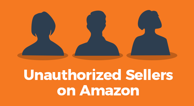 """Black silhouettes of three people on an orange background with text, """"Unauthorized sellers on Amazon"""""""