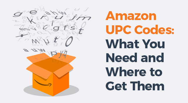 "Amazon box with random letters flying out with text, ""Amazon UPC codes: what you need and where to get them"""