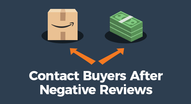 """Diverging arrows pointing to an Amazon box or cash with text, """"Contact buyers after negative reviews"""""""