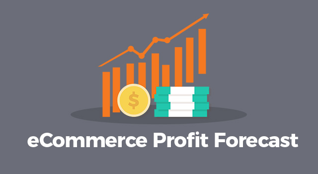 "Graph showing increase in profits with text, ""eCommerce profit forecast"""