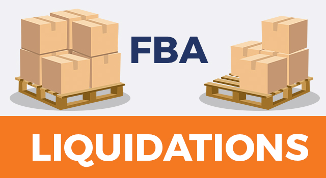 """Boxes on pallets with text, """"FBA liquidations"""""""