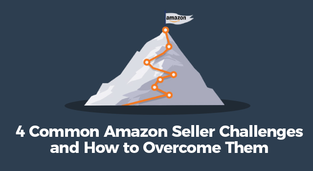 """Flag at the top of a mountain with text, """"4 common Amazon seller challenges and how to overcome them"""""""