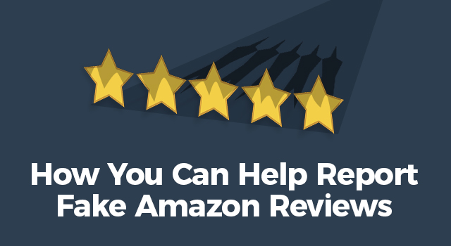 """Five stars with a shadow effect and text, """"How you can help report fake Amazon reviews"""""""