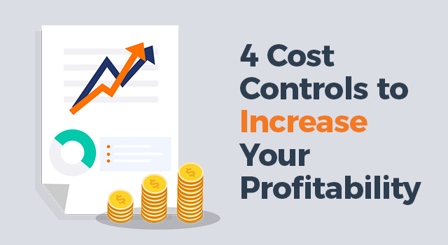 "Sales chart with coins in the foreground with text, ""4 cost controls to increase your profitability"""