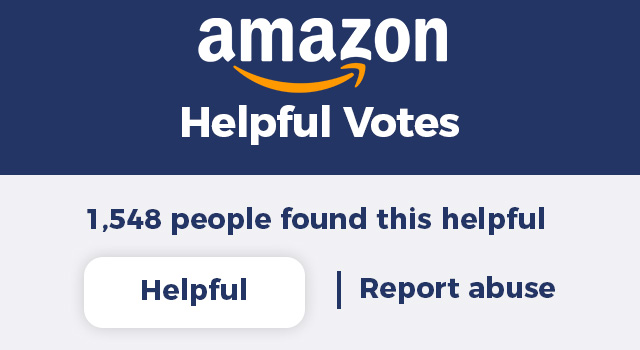 Amazon logo with helpful votes button from a product listing