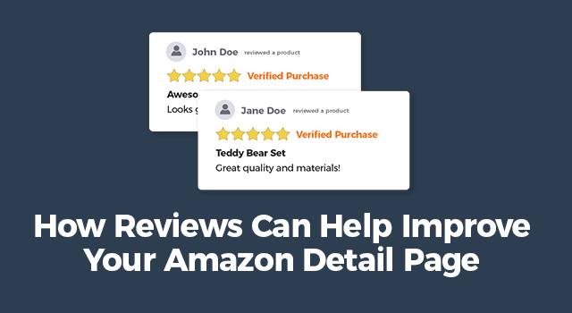 """Snapshot of product reviews with text, """"How reviews can help improve your Amazon detail page"""""""