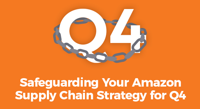 """Chain surrounding large """"Q4"""" text with smaller text, """"Safeguarding your Amazon supply chain strategy for Q4"""""""