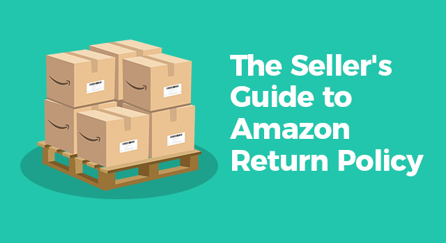 """Amazon boxes on a pallet with text, """"The seller's guide to Amazon return policy"""""""