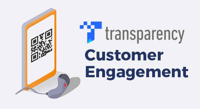 """Amazon Transparency program logo, mobile phone showing a barcode, and barcode scanner with text, """"Customer engagement"""""""