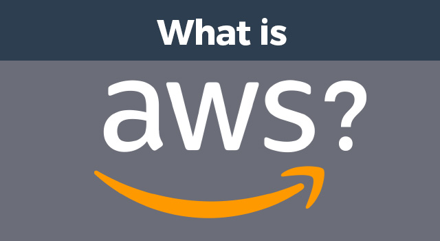 "Blue and gray background with Amazon AWS logo beneath text, ""What is"""